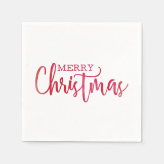 Simple Red Watercolor Merry Christmas Script Disposable Serviettes