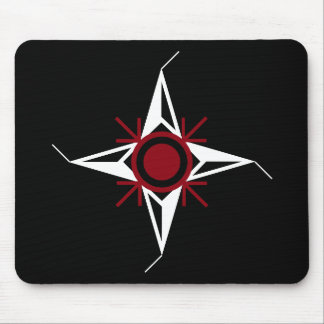 Simple Red & White North Star on Black Background Mouse Pad