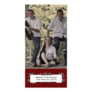 Simple Red White Vintage Photo Christmas Card Picture Card