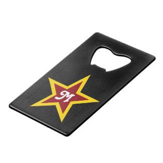 Simple Red & Yellow Star Custom Monogram on Black
