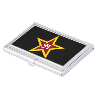 Simple Red & Yellow Star Custom Monogram on Black Business Card Holder