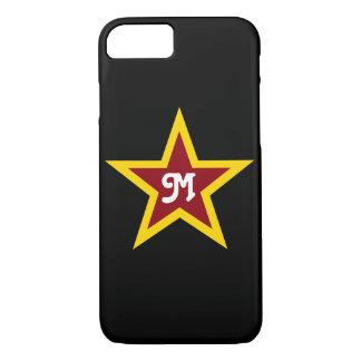 Simple Red & Yellow Star Custom Monogram on Black iPhone 8/7 Case