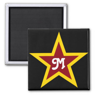 Simple Red & Yellow Star Custom Monogram on Black Magnet