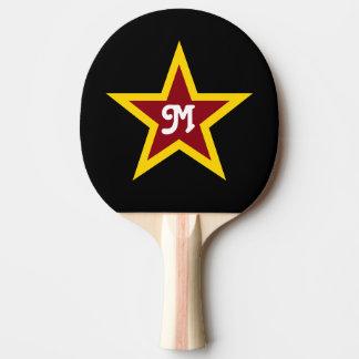Simple Red & Yellow Star Custom Monogram on Black Ping Pong Paddle