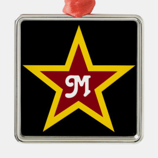 Simple Red & Yellow Star Custom Monogram on Black Silver-Colored Square Decoration
