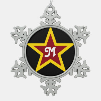 Simple Red & Yellow Star Custom Monogram on Black Snowflake Pewter Christmas Ornament