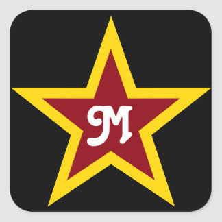Simple Red & Yellow Star Custom Monogram on Black Square Sticker