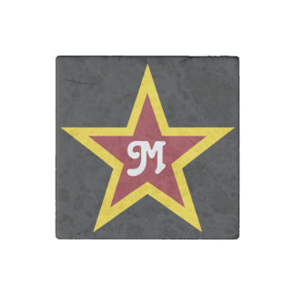 Simple Red & Yellow Star Custom Monogram on Black Stone Magnet