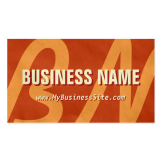 Simple Retro Huge Letters Business Card Brown