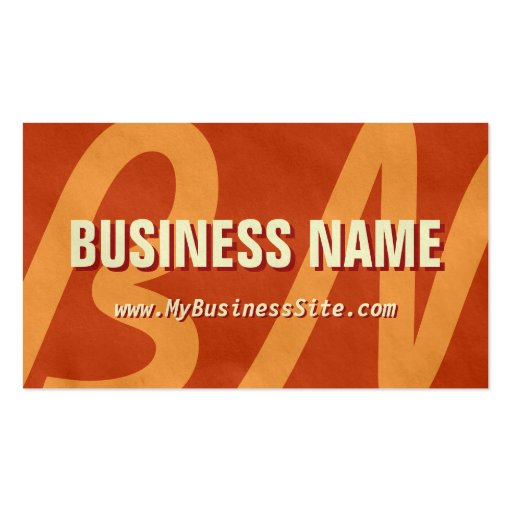 Simple Retro Huge Letters Business Card (Brown)