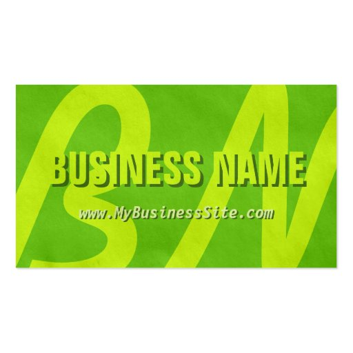 Simple Retro Huge Letters Business Card (Lime)