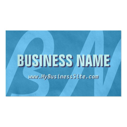 Simple Retro Huge Letters Business Card (Sky Blue)