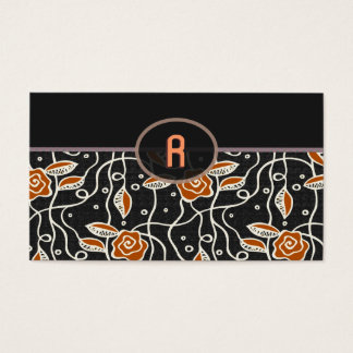 Simple Retro Pattern- Black & Orange Business Card