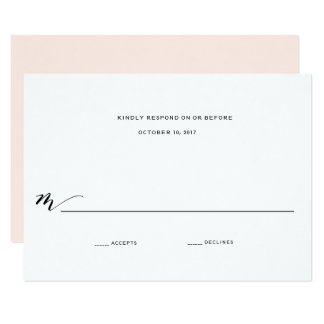 Simple Romance Calligraphy Wedding Reply Card