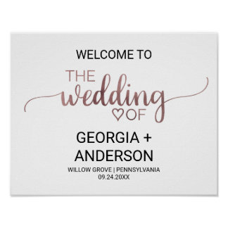 Simple Rose Gold Calligraphy Wedding Welcome Poster