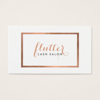 Simple Rose Gold Framed Logo Text Lash Salon