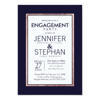Simple Rose Gold Lined Navy Blue Engagement Party 13 Cm X 18 Cm Invitation Card