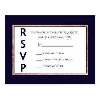 Simple Rose Gold Lined Navy Blue RSVP Postcards