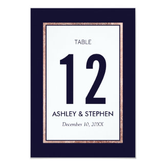 Simple Rose Gold Lined Navy Blue Table Numbers 9 Cm X 13 Cm Invitation Card
