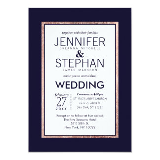 Simple Rose Gold Lined Navy Blue Wedding 13 Cm X 18 Cm Invitation Card
