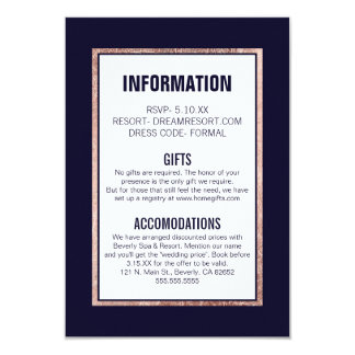 Simple Rose Gold Lined Navy Blue Wedding Details 9 Cm X 13 Cm Invitation Card