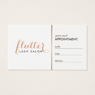 Simple Rose Gold Logo Lash Extensions Appointment Business Card