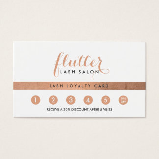 Simple Rose Gold Logo Lash Extensions Loyalty Card