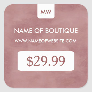 Simple Rosy Brown Chic Boutique Monogram Price Tag Square Sticker