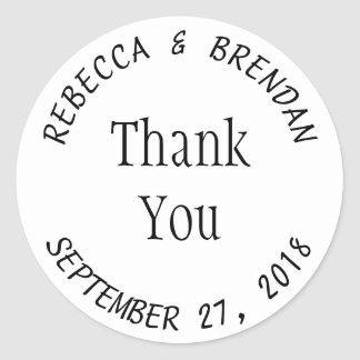 Simple Round White Curved Text Favour Labels Round Sticker