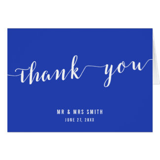 Simple Royal Blue Wedding Thank You Cards
