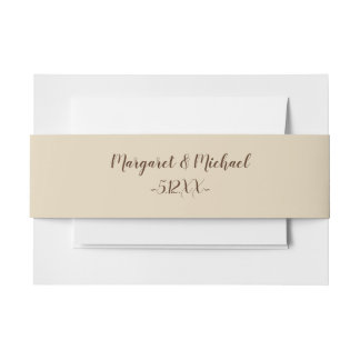 Simple Rustic Cream with Names and Date Invitation Belly Band