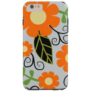 Simple Rustic Floral Pattern | Orange Flowers Tough iPhone 6 Plus Case