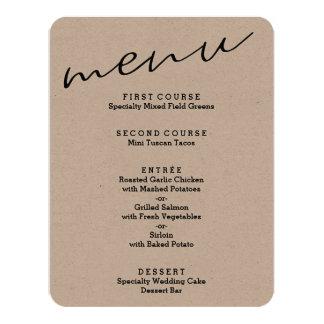 Simple Rustic Kraft Paper Menu Cards