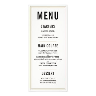 Simple Rustic Wedding Menu