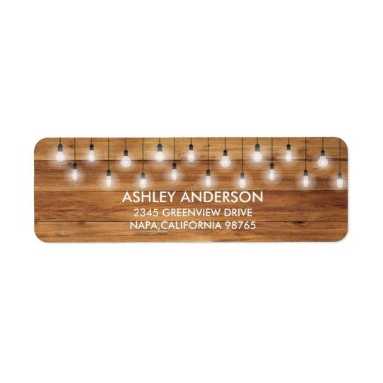 Simple Rustic Wedding Wood Lights Return Address Label