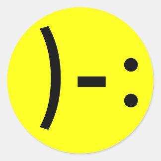 Simple Sad Face Smiley Round Sticker