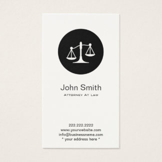 Simple Scales Icon Attorney/Lawyer Business Card