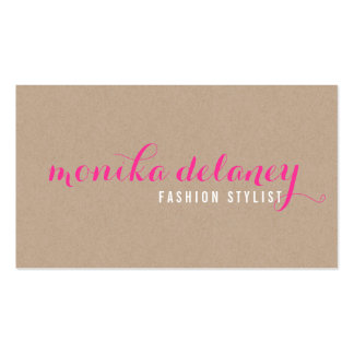 SIMPLE SCRIPT TYPE stylish trendy eco kraft pink Pack Of Standard Business Cards