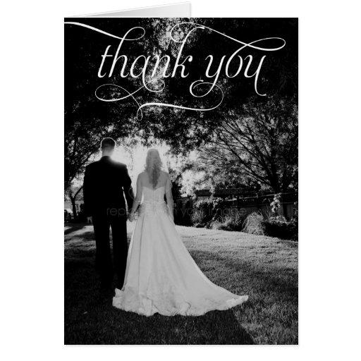 Simple Script Wedding Photo Thank You Card Card
