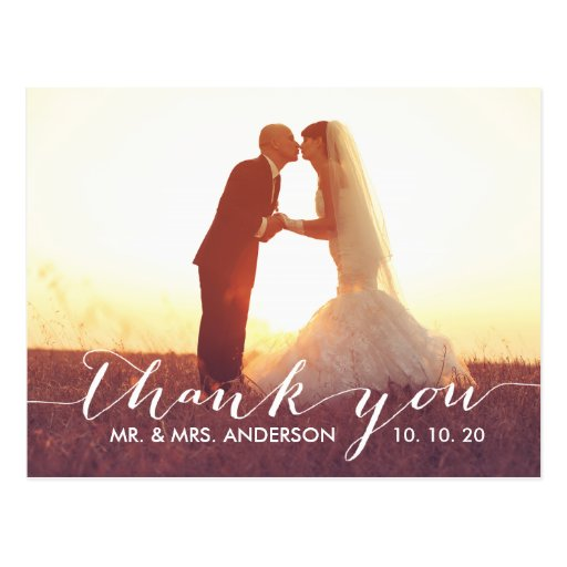 Simple Script Wedding Thank You Postcard