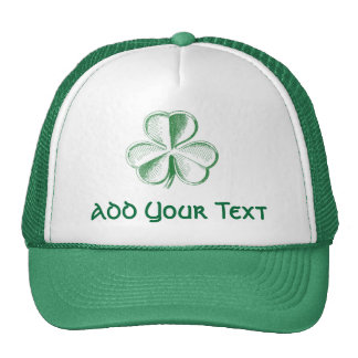 Simple Shamrock Stencil Saint Patrick's Day Trucker Hats