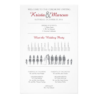 Simple Silhouettes Wedding Program 14 Cm X 21.5 Cm Flyer