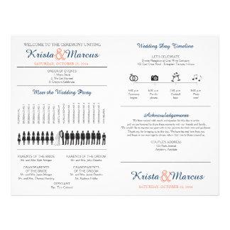Simple Silhouettes Wedding Program Fan 21.5 Cm X 28 Cm Flyer