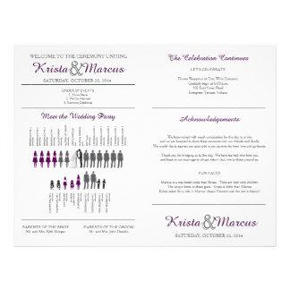 Simple Silhouettes Wedding Program Fan Flyer