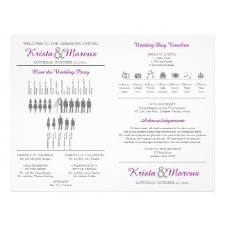 Simple Silhouettes Wedding Program Fan Flyer