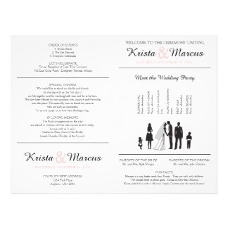 Simple Silhouettes Wedding Program Flyer - FAN