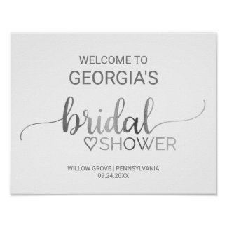 Simple Silver Calligraphy Bridal Shower Welcome Poster
