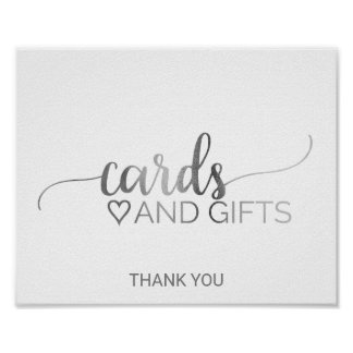 Simple Silver Calligraphy Cards and Gifts Sign Poster