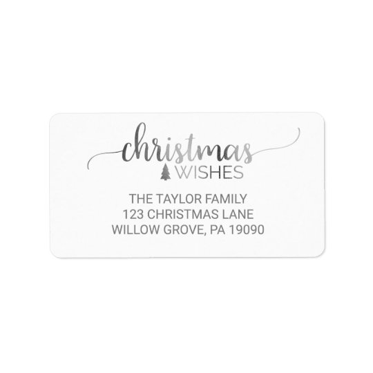Simple Silver Calligraphy Christmas Label
