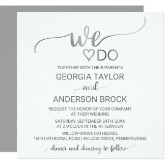 "Simple Silver Calligraphy ""We Do"" Square Wedding Card"